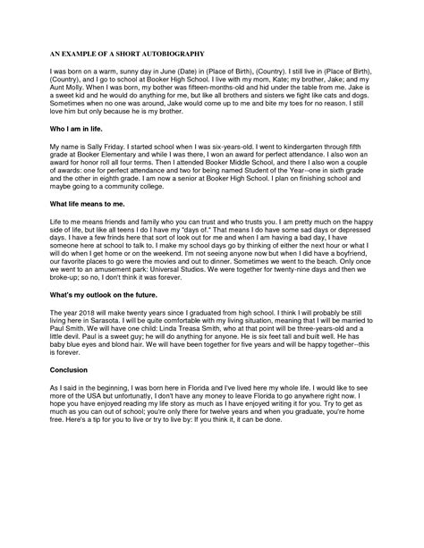biography exle short best photos of sle short autobiography for college