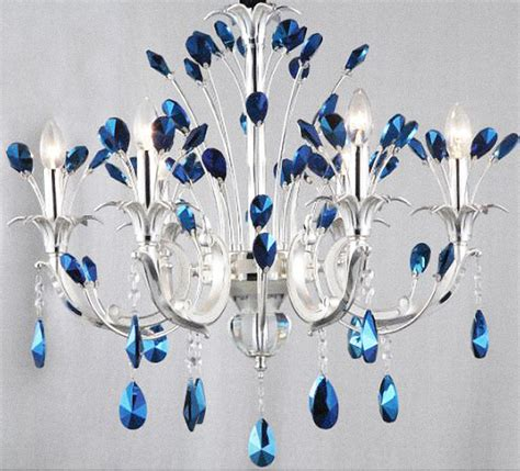 light blue chandelier crystals modern peacock blue crystal chandelier contemporary