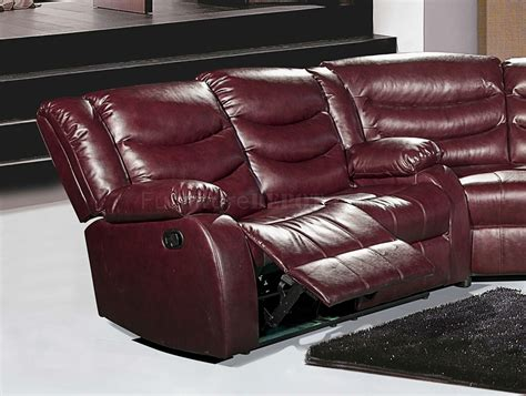 Burgundy Leather Sofas Gramercy 644 Motion Sectional Sofa In Burgundy Bonded Leather