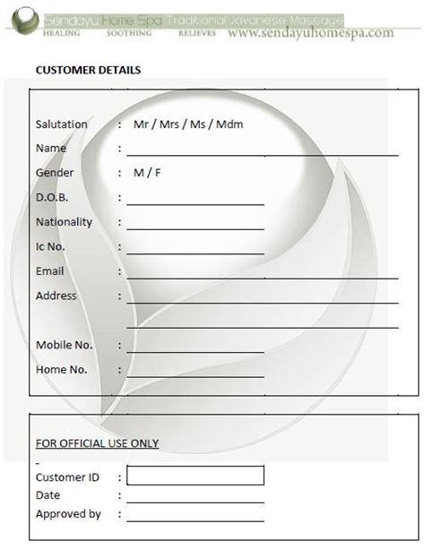 Sendayu Home Spa Customer Details Form Customer Details Form Template