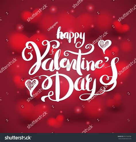 happy valentines day lettering happy valentines day lettering on stock vector