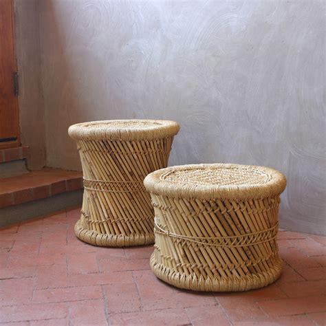 woven indian mooda stool rustic footstools and