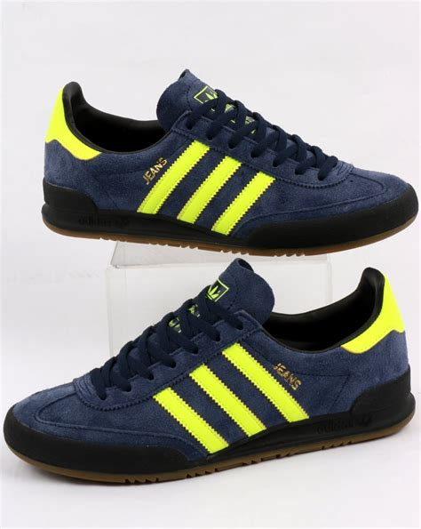 adidas jeans adidas jeans trainers navy solar yellow shoes suede originals