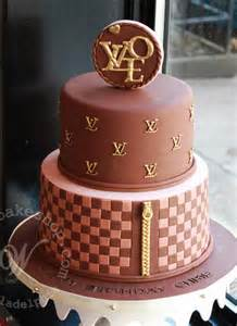 tiered louis vuitton logo cake by whipped bakeshop in philadelphia