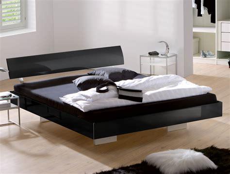 edles hochglanz schwebebett in schwarz z b 140x200 cm - Bett Kopfteil Schwarz