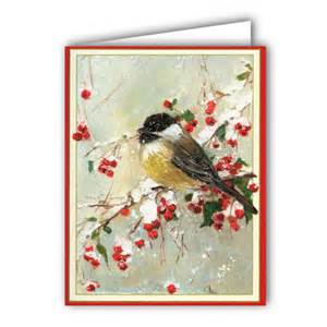 bird on snowy berry branch boxed greeting cards paperstyle