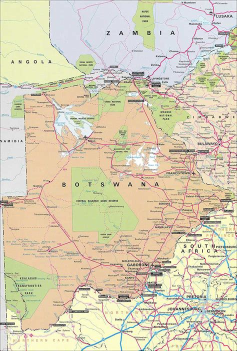 road map of detailed road map of botswana botswana detailed road map