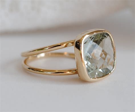 green amethyst 14k gold cocktail ring checkerboard cut