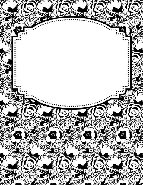 free printable black and white flower binder cover