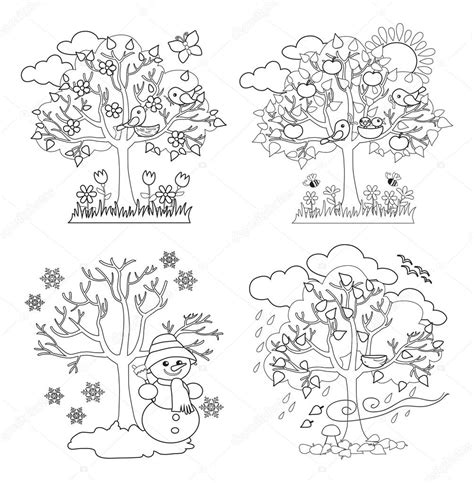 coloring pages trees four seasons four seasons trees clipart and vector with spring summer