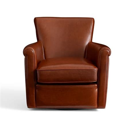 Leather Swivel Armchair by Irving Leather Swivel Armchair Pottery Barn