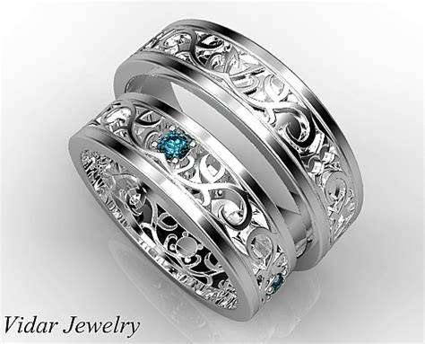 Wedding Bands Jewellery by Unique Blue Matching Wedding Bands His And Hers