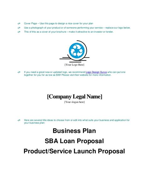 business plan title page template how to write business plan cover page for investors