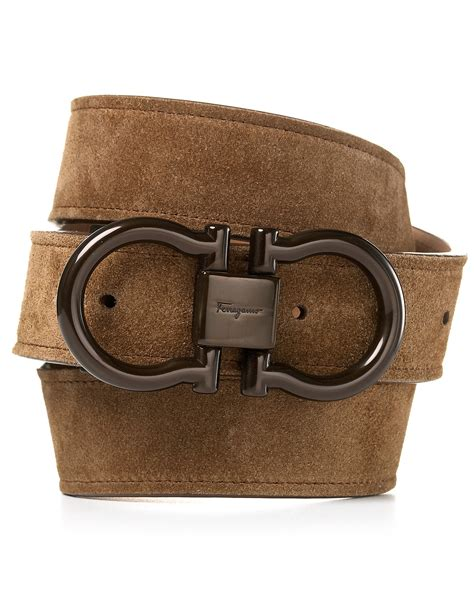 salvatore ferragamo gancini brown suede belt
