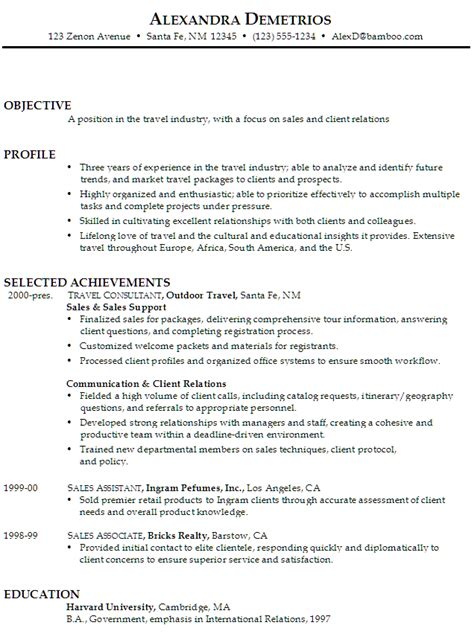 sle travel resume resume for sales and client relations susan ireland resumes