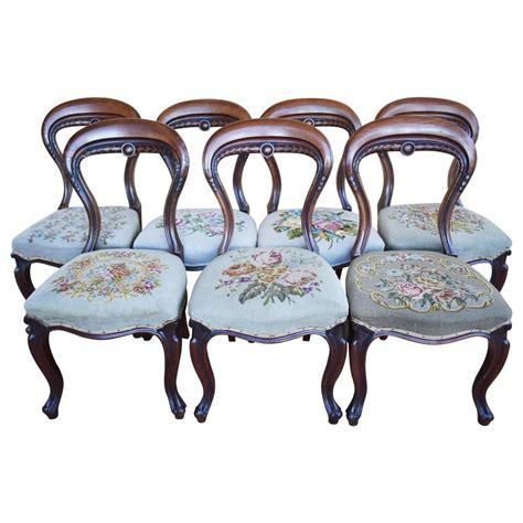set    century victorian walnut dining chairs