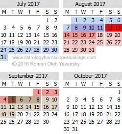 Calendar 2017 July August September October 2017 Mercury Retrograde Calendar