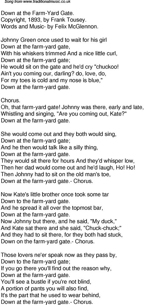 In Backyard Lyrics by Time Song Lyrics For 42 At The Farm Yard Gate