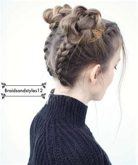 hairstyles like space buns upside down braided pigtails into braided space buns by