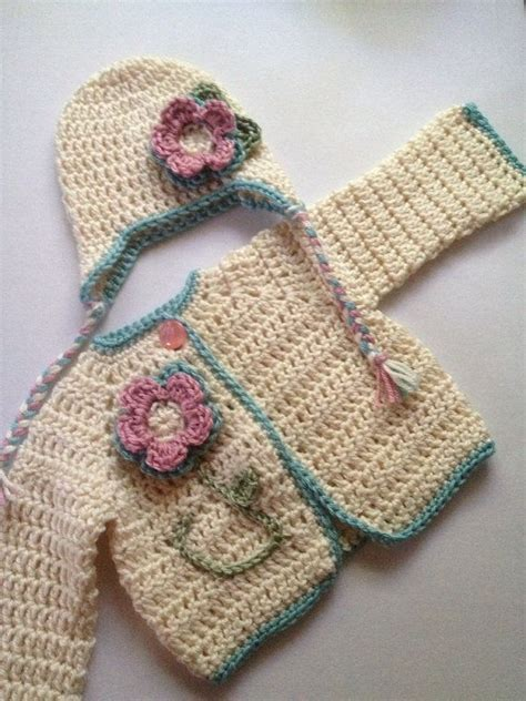 Baby Handmade Sweater - handmade baby sweater and hat set with flower infant