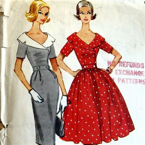 dress pattern with collar 1950s womens dress pattern with portrait collar and two skirt