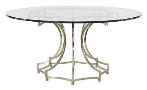 Round Dining Table Glass Top With Metal Base Bernhardt Dining Tables Glass