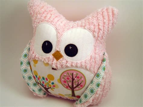 Owl Pillow For by Plush Owl Pillow Pink Chenille Tree Fabric