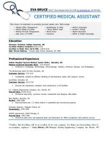Resume Sample Of Medical Assistant by Certified Medical Assistant Resume Eva Bruce