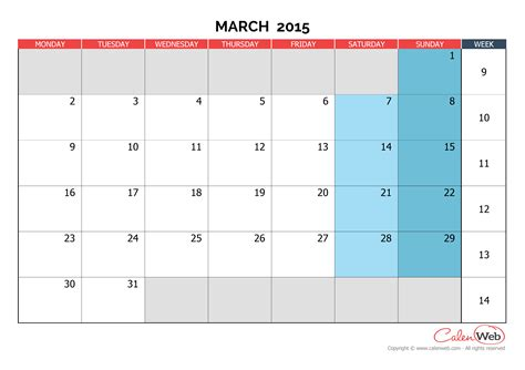 calendar layout march 2015 monthly calendar month of march 2015 the week starts on