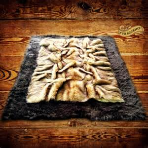 fur accents faux fur rug russian wolf pelt by