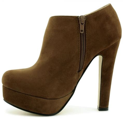 womens brown suede style stiletto heel platform ankle