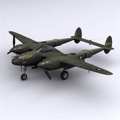 3d model p 38 lightning fighter 1943