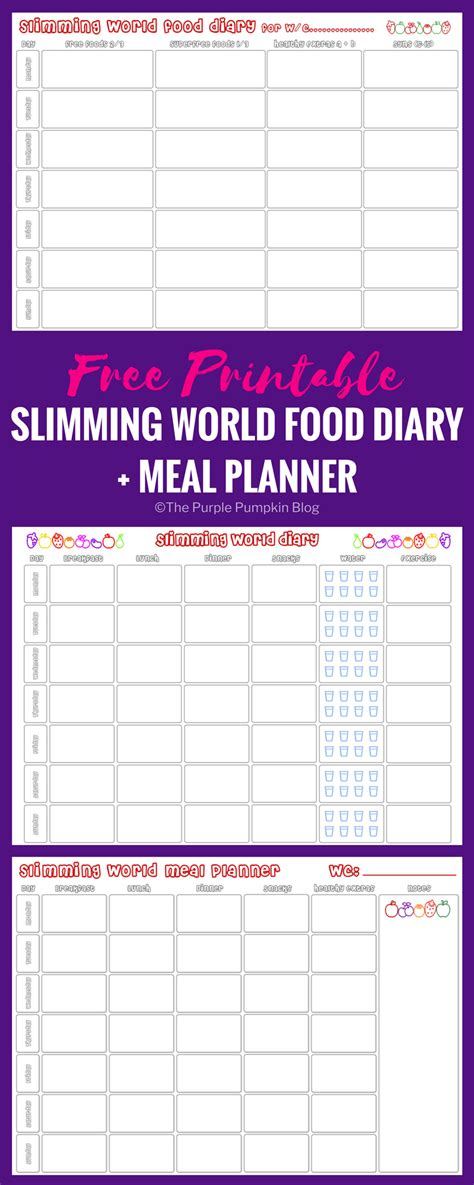 free printable food diary uk slimming world food diary printable meal planner