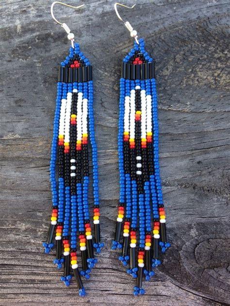 beadwork blue style 3 3 4 blue beaded feather