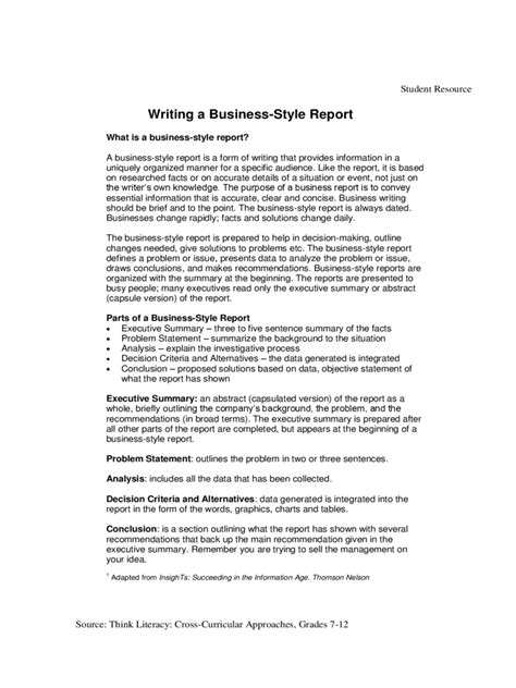 business report format template business report template 7 free templates in pdf word
