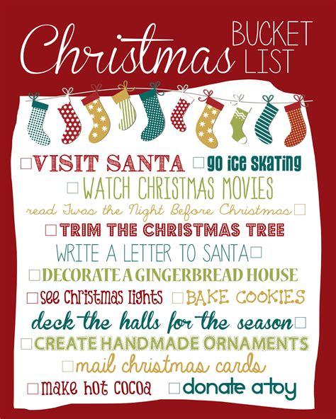 printable christmas bucket list christmas bucket list 2013 free printable how to nest