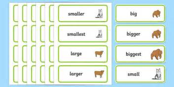 Size Word Cards   Size, measuring, shapes spaces and measures
