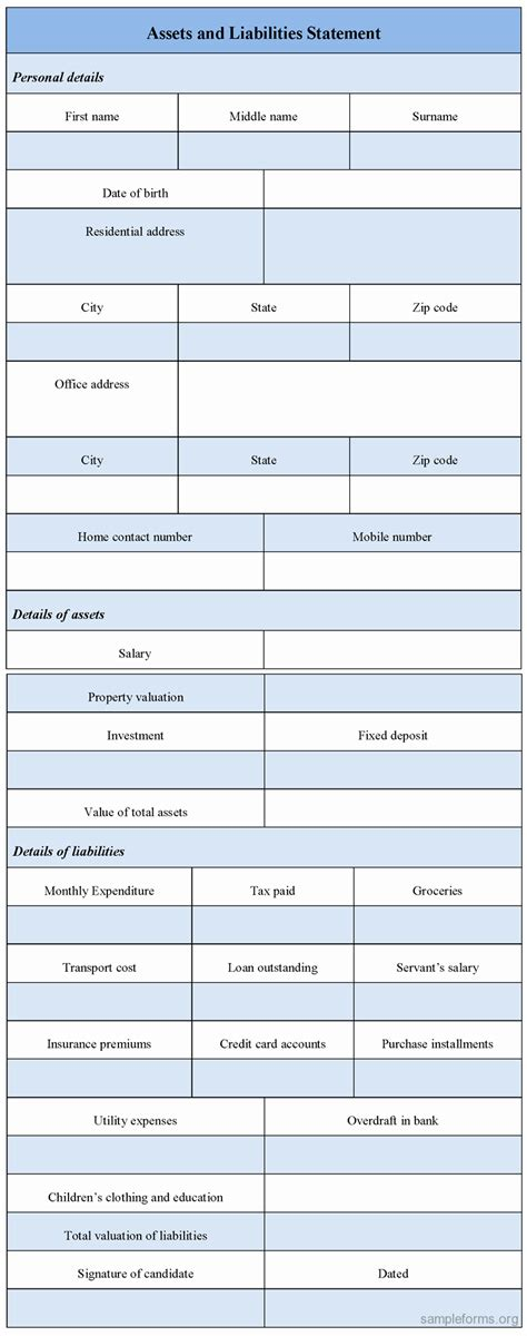 asset and liability statement template assets and liabilities worksheet 10 best images of asset