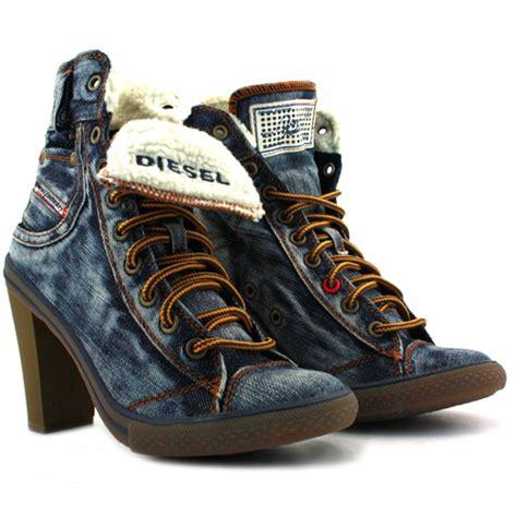 diesel womens sneakers diesel exposition womens hi heel denim shoes indigo ebay