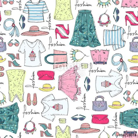 fashion vector background pattern quot vector seamless pattern of hand drawn fashion collection