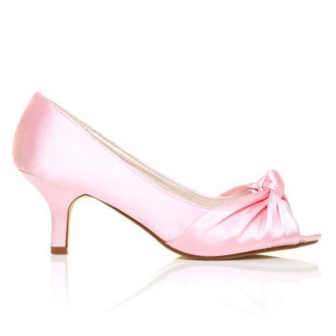 Pink Bridal Heel baby pink satin kitten medium heel bridal peeptoe