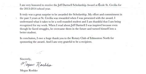 Thank You Letter For Book Scholarship Jeff Dartnell Scholarship Award Thank You Rotary Club Of Edmonton Northeast