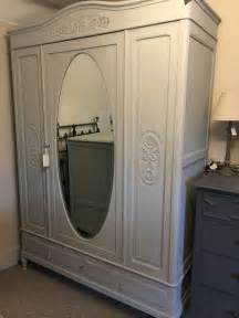 Grey Wardrobe Armoire Painted Oak Armoire Wardrobe In Grey