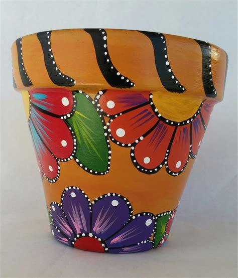 pot designs painted clay pot hand painted flowerpot patio decor painted