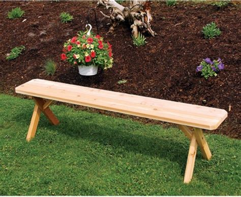 unfinished outdoor bench a l furniture western red cedar crossleg backless bench