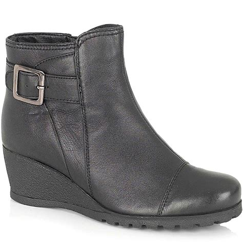 lotus amherst black leather wedge ankle boot lotus from