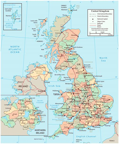 printable map england towns cities detailed political and administrative map of united