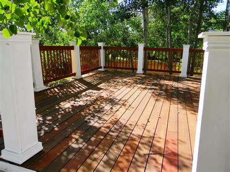 teak wood deck refinish  railing rebuild stained
