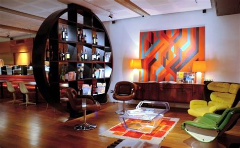 60 s interior design installation in retro style furniture and the colors of