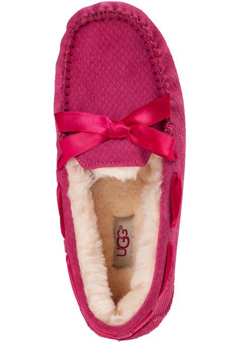 ugg slippers pink lyst ugg dakota embossed suede slippers in pink